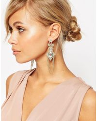 ASOS | Metallic Occasion Drape Chain Earrings | Lyst