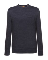 BOSS Orange | Blue Cotton-blend Sweatshirt 'wenelow' for Men | Lyst