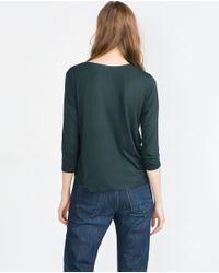 Zara | Green Top With Beaded Neckline | Lyst