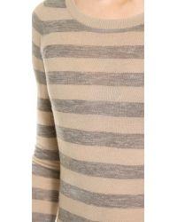 Enza Costa Pink Cashmere Stripe Crew Neck Sweater