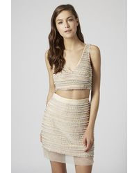 TOPSHOP Natural Limited Edition Pearl Embellished Bralet