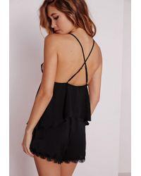 Missguided | Satin Lace Pyjama Set Black | Lyst