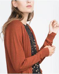 Zara | Orange Knit Cardigan With Pockets | Lyst
