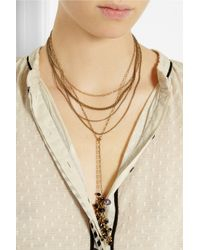 Isabel Marant - Blue Multi-Strand Gold-Tone Crystal Necklace - Lyst