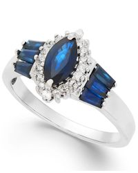 Macy's | Blue Sapphire (1-1/3 Ct. T.w.) And Diamond (1/5 Ct. T.w.) Ring In 14k White Gold | Lyst