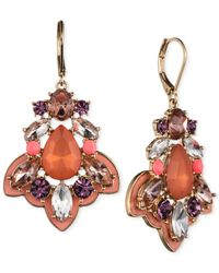 Nine West | Purple Gold-tone Stone And Crystal Chandelier Earrings | Lyst