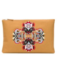 Mauro Grifoni - Natural Embroidered Clutch With Contrasted Panels - Lyst