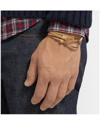 Miansai | Brown Leather And Gold-plated Hook Bracelet for Men | Lyst