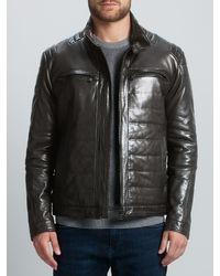 BOSS Brown Boss Nascin Leather Jacket for men