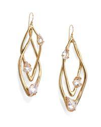 Alexis Bittar Metallic Miss Havisham Liquid Crystal Floating Stone Orbital Earrings