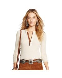 Polo Ralph Lauren - Natural Suede-trim Ribbed Henley - Lyst