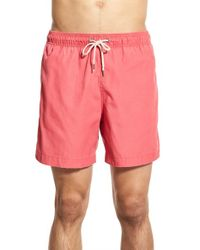 Faherty Brand Red Recycled Fabric Swim Trunks for men