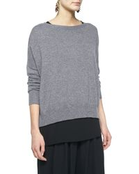 Eileen Fisher | Gray Fine-gauge Cashmere Box Top | Lyst