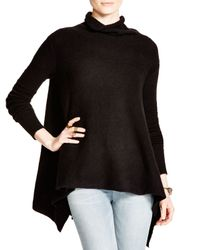 Free People - Black Draped Turtleneck Top - Lyst
