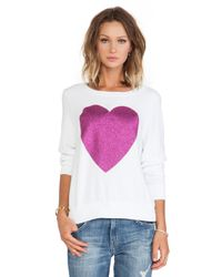 Wildfox - White X Revolve Sparkle Heart Sweater - Lyst