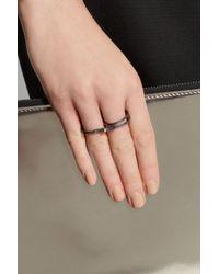 Maria Black Gray Double Harper Oxidized Silver Ring