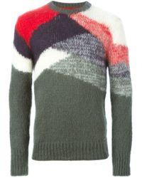 DIESEL   Green Colour Block Sweater for Men   Lyst