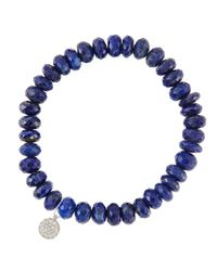 Sydney Evan | Blue 8Mm Faceted Lapis Beaded Bracelet With 14K White Gold/Diamond Small Disc Charm (Made To Order) | Lyst