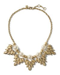 Banana Republic | Metallic Pearl Leaf Necklace | Lyst