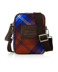 Vivienne Westwood Anglomania Blue Leather-trimmed Tartan Flannel Shoulder Bag
