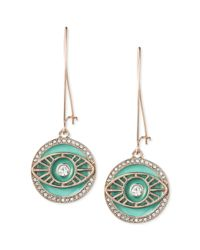 RACHEL Rachel Roy | Green Rose Goldtone Turquoise Enamel Evil Eye Drop Earrings | Lyst