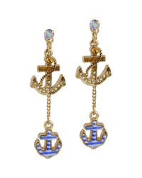 Betsey Johnson - Blue Goldtone Crystal and Striped Nautical Anchor Earrings - Lyst