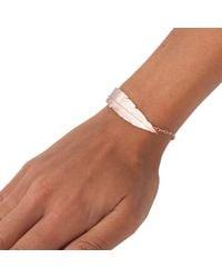 Leivan Kash - Pink Feather Chain Bracelet Rose Gold - Lyst