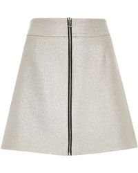 River Island - Metallic Silver Zip Front A-line Mini Skirt - Lyst
