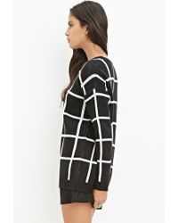 Forever 21 - Black Grid-patterned Sweater - Lyst