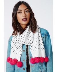 Missguided - Georgianna Knitted Contrast Heart Print Pom Pom Scarf White - Lyst
