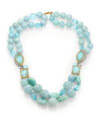 Alexis Bittar | Blue Elements Gilded Muse D'Ore Amazonite & Crystal Double-Strand Necklace | Lyst