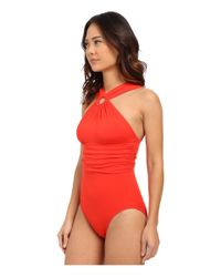 Michael Kors - Drapey Jersey High Neck Shirred Maillot W/ Removable Cups - Lyst