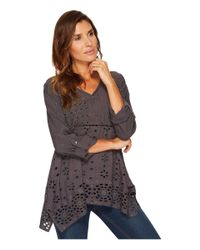 Dylan By True Grit - Gray Embroidered & Eyelet Slub Challis Coquette Pullover - Lyst