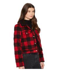 Jack BB Dakota - Red Cicily Buffalo Plaid Jacket With Sherpa Collar - Lyst