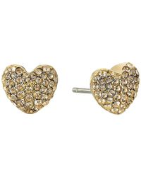 Michael Kors | Metallic Pave Hearts Tone And Light Colorado Crystal Heart Stud Earrings | Lyst
