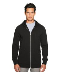 Vince - Black Long Line Zip-up Hoodie for Men - Lyst