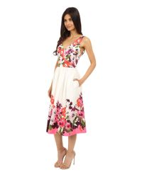 Donna Morgan - Red Sleeveless Cotton Sateen V-neck Midi Length Dress - Lyst