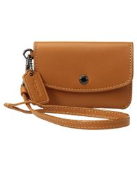 COACH - Brown Card Pouch With Metallic Interior - Lyst