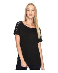 NYDJ - Black Greenwich Lace-up Sleeve Tee - Lyst