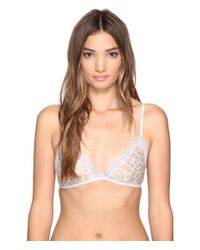 Calvin Klein - Natural Sheer Marquisette With Lace Triangle Unlined - Lyst