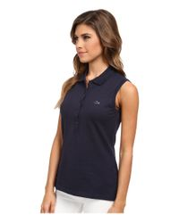 Lacoste - Blue Sleeveless Slim Fit Stretch Pique Polo Shirt - Lyst