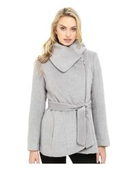 Jessica Simpson - Gray Brushed Wool Touch Coat W/ Asymmetrical Zip - Lyst