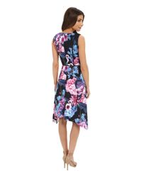 Adrianna Papell - Multicolor Print Floral Scuba Dress - Lyst