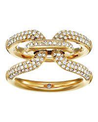Michael Kors - Metallic Brilliance Iconic Links Gold-tone Pave Ring - Lyst