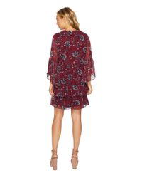 Kensie - Red Folk Floral Chiffon Dress Ksnk9878 - Lyst