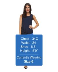 DKNY | Blue Tech Crepe W/ Chiffon Overlay Drape Dress | Lyst