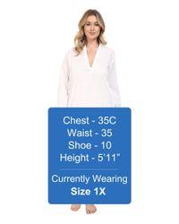 Yummie By Heather Thomson - White Plus Size Cotton Viole Mandarin Collar Nightshirt - Lyst