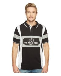 U.S. POLO ASSN. - Black Short Sleeve Striped Classic Fit Pique Polo Shirt for Men - Lyst