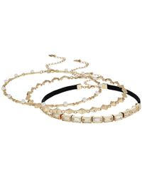 Steve Madden | Metallic 3 Piece Velvet Cast Stone/chain Chokers Necklace | Lyst