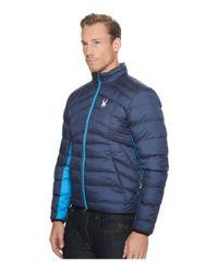 Spyder - Blue Geared Full Zip Synthetic Down Jacket for Men - Lyst